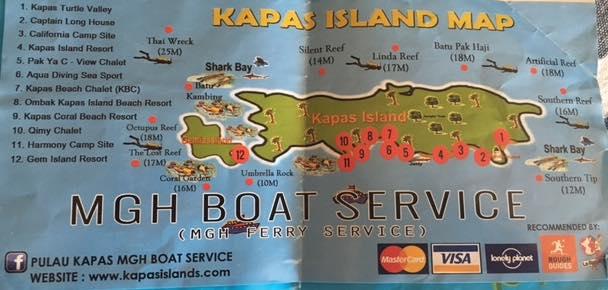 mapa alojamientos pulau kapas