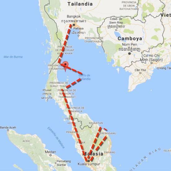 ruta de viaje malasia tailandia