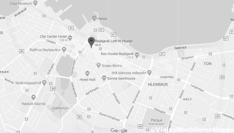 ubicación loft hostel centro Reykjavik